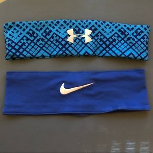 Blue nike and Under Armour sport headbands
